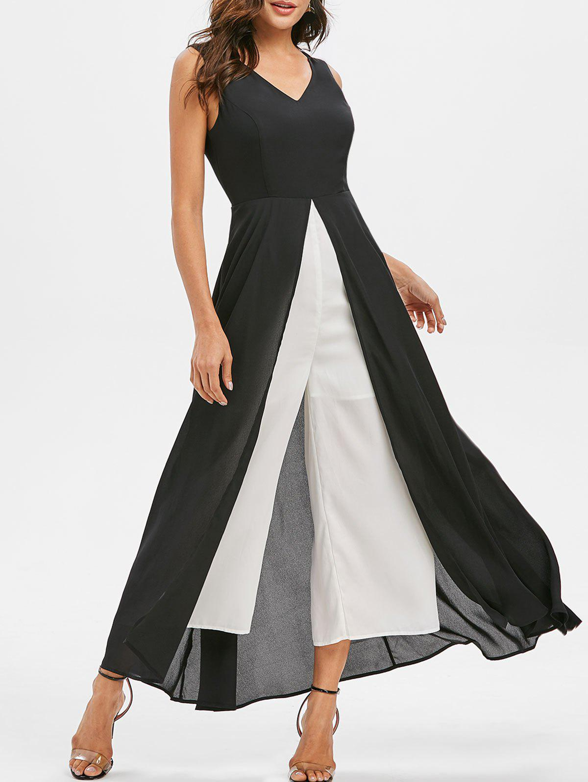 Chic Contrast Color Overlay Wide Leg Jumpsuit