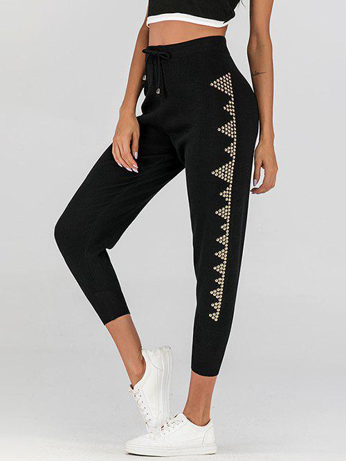 Outfit High Waisted Rivet Drawstring Knitted Pants