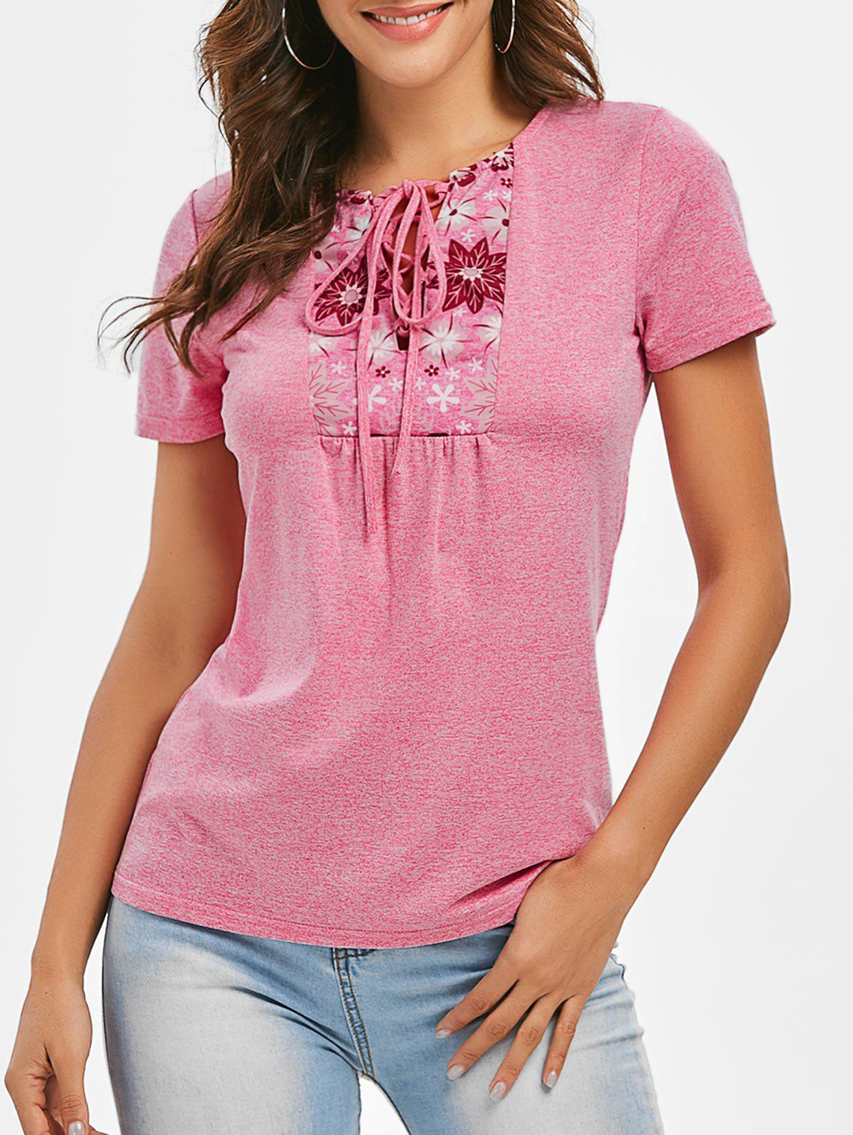 Trendy Space Dye Lace-up Flower Print Tee