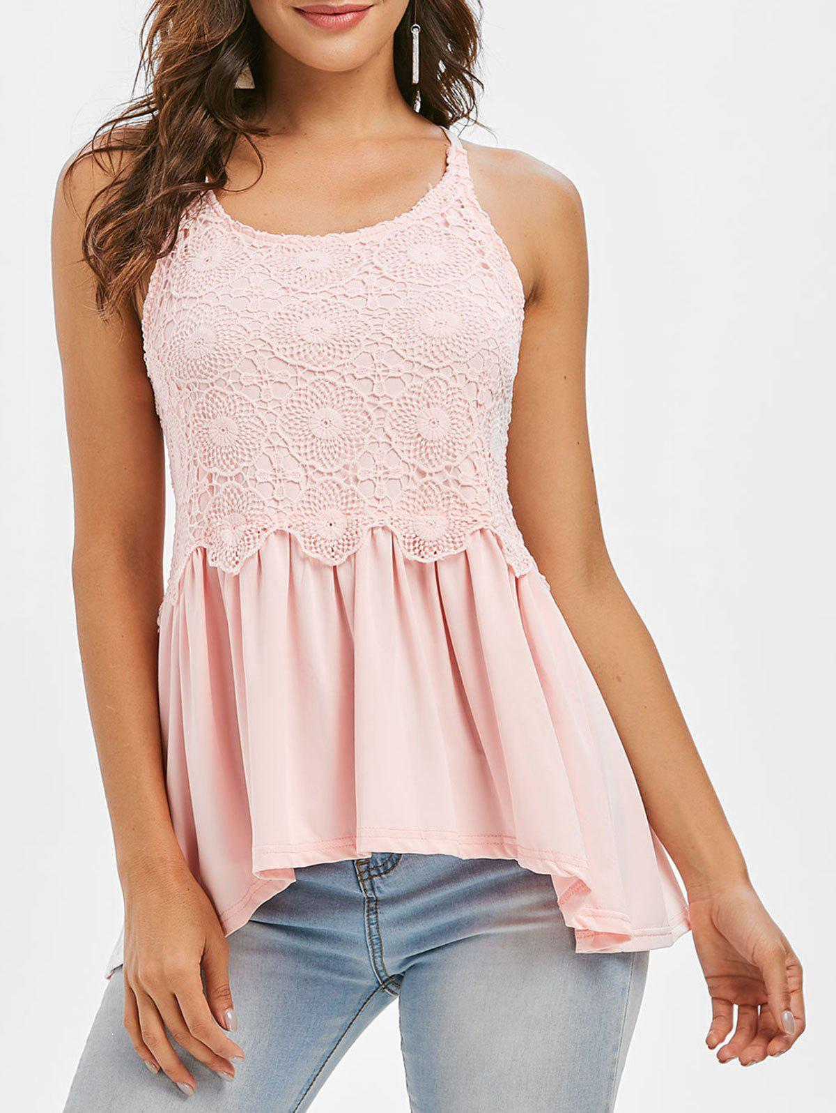 Shop Crochet Panel Sheer Tank Top