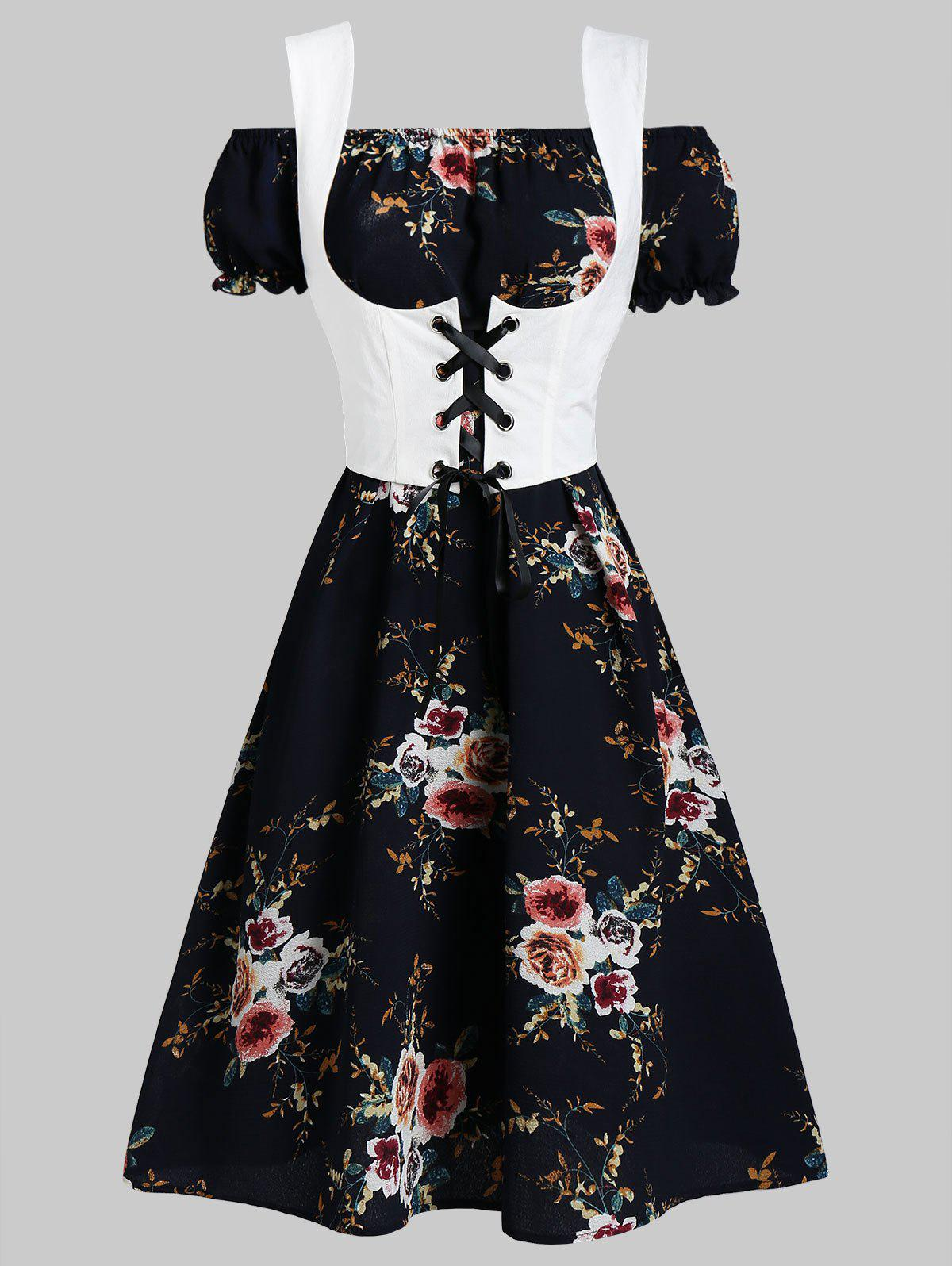 Shops Off Shoulder Flower Dress and Waistcoat Set