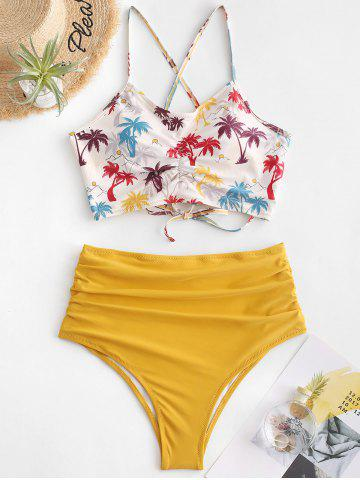 Scrunch Coconut Palm Crisscross High Waisted Bikini Swimsuit