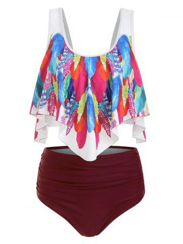 Feather Print Padded Overlay Tankini Swimsuit