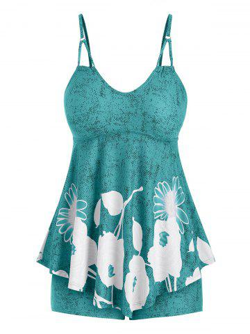 Plus Size Floral Print Skirted Tankini Swimsuit