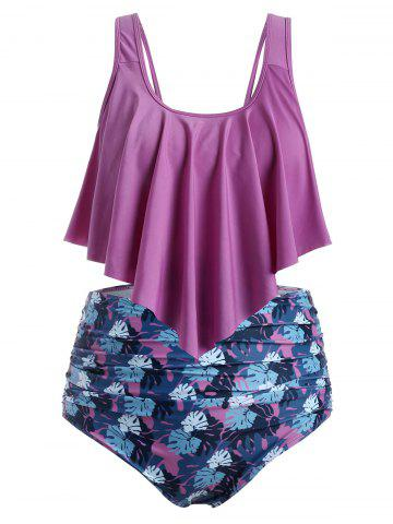 Plus Size Floral Leaf Ruched High Waisted Tankini Swimsuit
