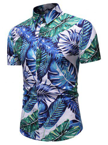 Tropical Leaf Print Button Up Short Sleeve Shirt