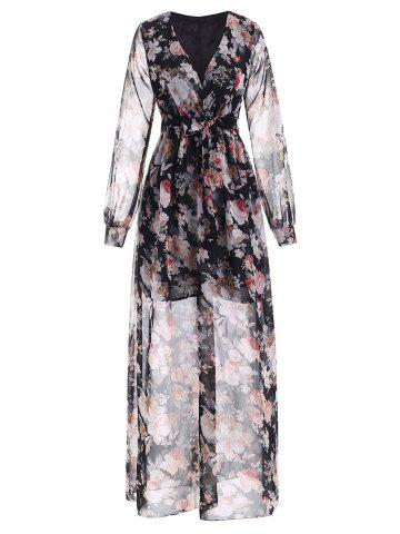 Flower Low Cut Surplice Maxi Dress