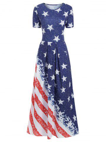 American Flag Print Floor Length Dress