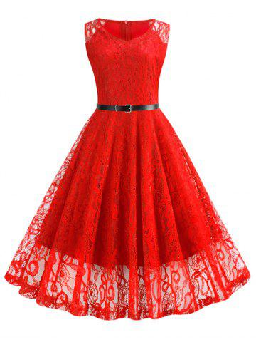 Lace Fit and Flare Knee Length Belted Dress