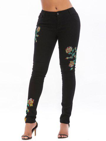 Floral Embroidered Zipper Fly Pocket Jeans