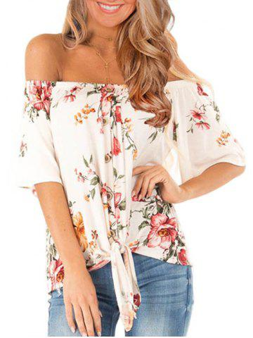 Flower Off Shoulder Tie Hem T-shirt