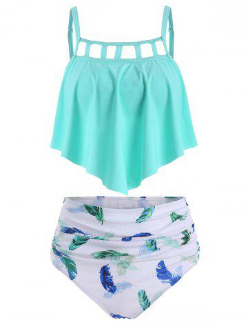 Ladder Cutout Flounce Feather Print Ruched Tankini Swimsuit