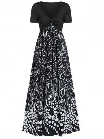 Twist Front Mix and Match Print Plunge Neck Maxi Dress