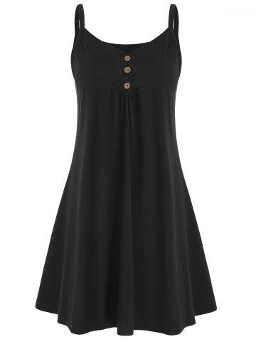 Button Embellished Sleeveless Plain Dress