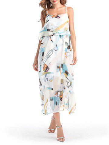 Abstract Print Chiffon Slit Flounce Cami Dress