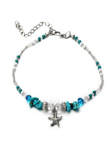 Turquoise Starfish Beaded Pendant Anklet