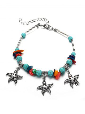 Beaded Starfish Pendant Turquoise Anklet