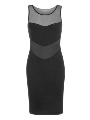 Mesh Insert Sleeveless Mini Bodycon Dress