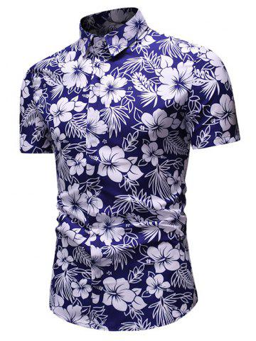 Ethnic Floral Print Button Up Short Sleeve Shirt