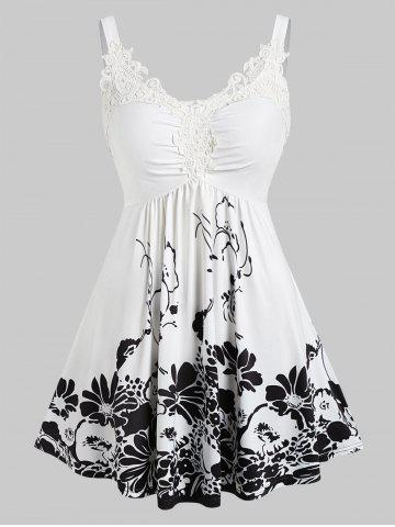 Plus Size Floral Print Lace Insert Sweetheart Neck Tank Top