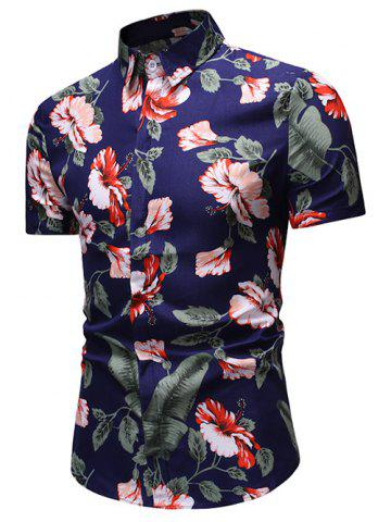 Flower Leaf Print Button Up Short Sleeve Shirt