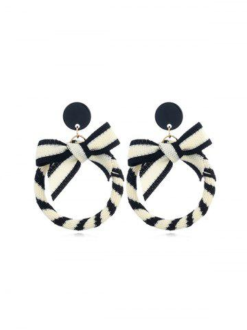 Circle Bowknot Striped Drop Earrings