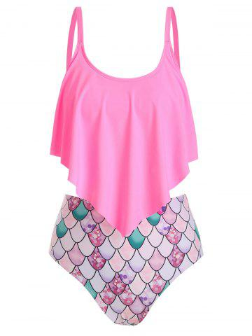Flounce Scale Print Mermaid Tankini Swimsuit