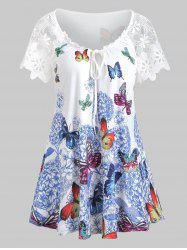 Butterfly Print Lace Sleeves Keyhole T-shirt -