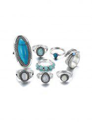 8Pcs Oval Turquoise Faux Opal Ring Set -