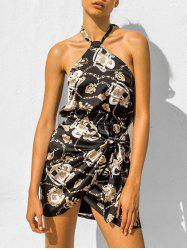 Halter Chains Print Knotted Mini Dress -