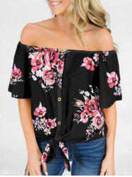 Flower Off Shoulder Tie Hem T-shirt -