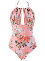 Halter Flower Backless One-Piece Swimsuit -