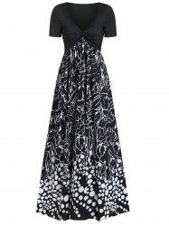 Twist Front Mix and Match Print Plunge Neck Maxi Dress -