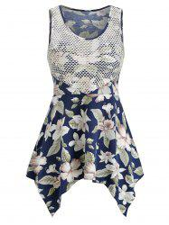 Ditsy Print Asymmetrical Hollow Out Tank Top -