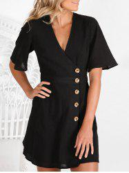 Side Button Low Cut Casual Dress -