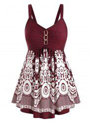 Plus Size Marled Floral Print Sweetheart Collar Tank Top -