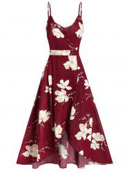 Cami Ditsy Print Zipper High Waist Dress -