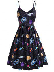 Plus Size Planet Print Side Pocket Cami Dress -