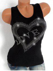 Plus Size Rhinestone Letter Graphic Tank Top -