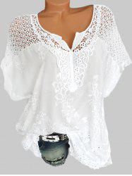 Plus Size Crochet Embroidery Blouse -