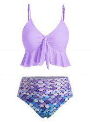 Knot Flounce Scale Print Mermaid Tankini Swimsuit -