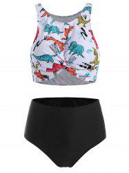 Dinosaur Print Twist High Waisted Tankini Swimsuit -