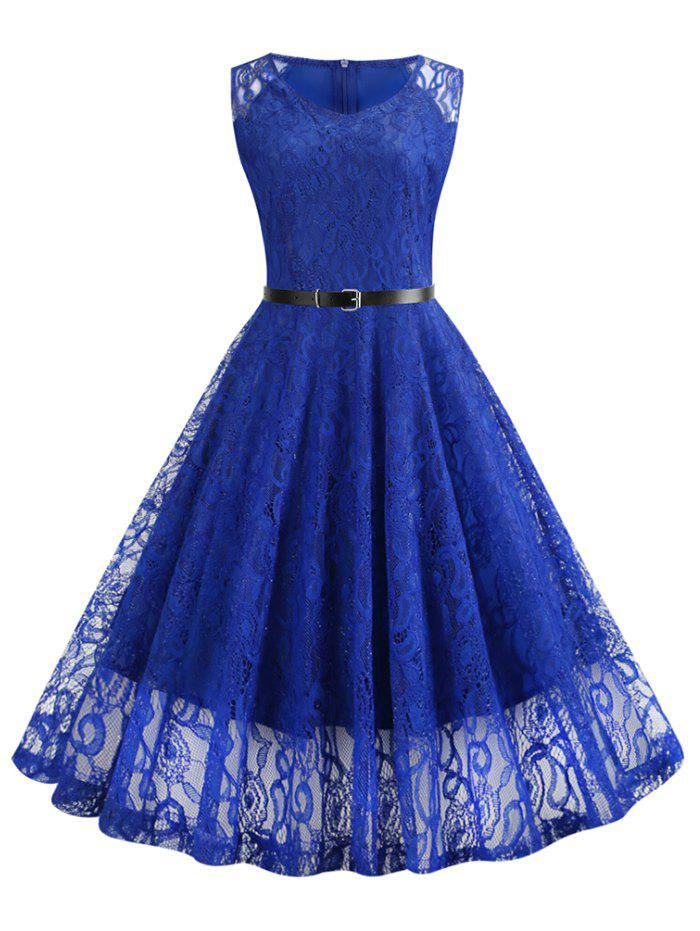 Sale Lace Fit and Flare Knee Length Belted Dress