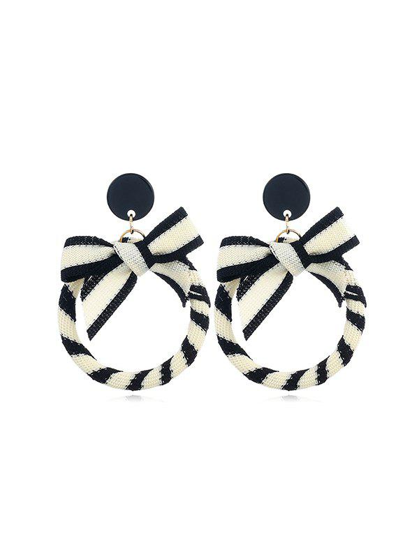 Outfit Circle Bowknot Striped Drop Earrings
