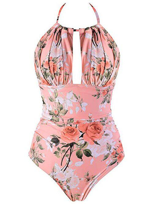 Chic Halter Flower Backless One-Piece Swimsuit