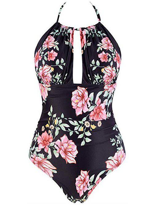 Discount Halter Flower Backless One-Piece Swimsuit