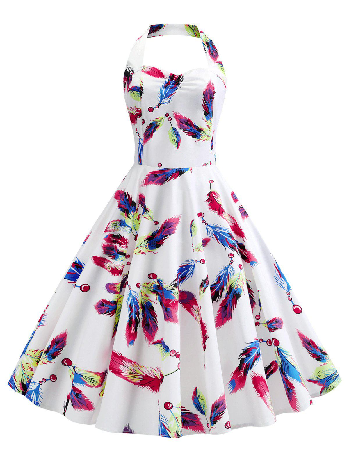 Best Halter Printed Open Back A Line Vintage Dress
