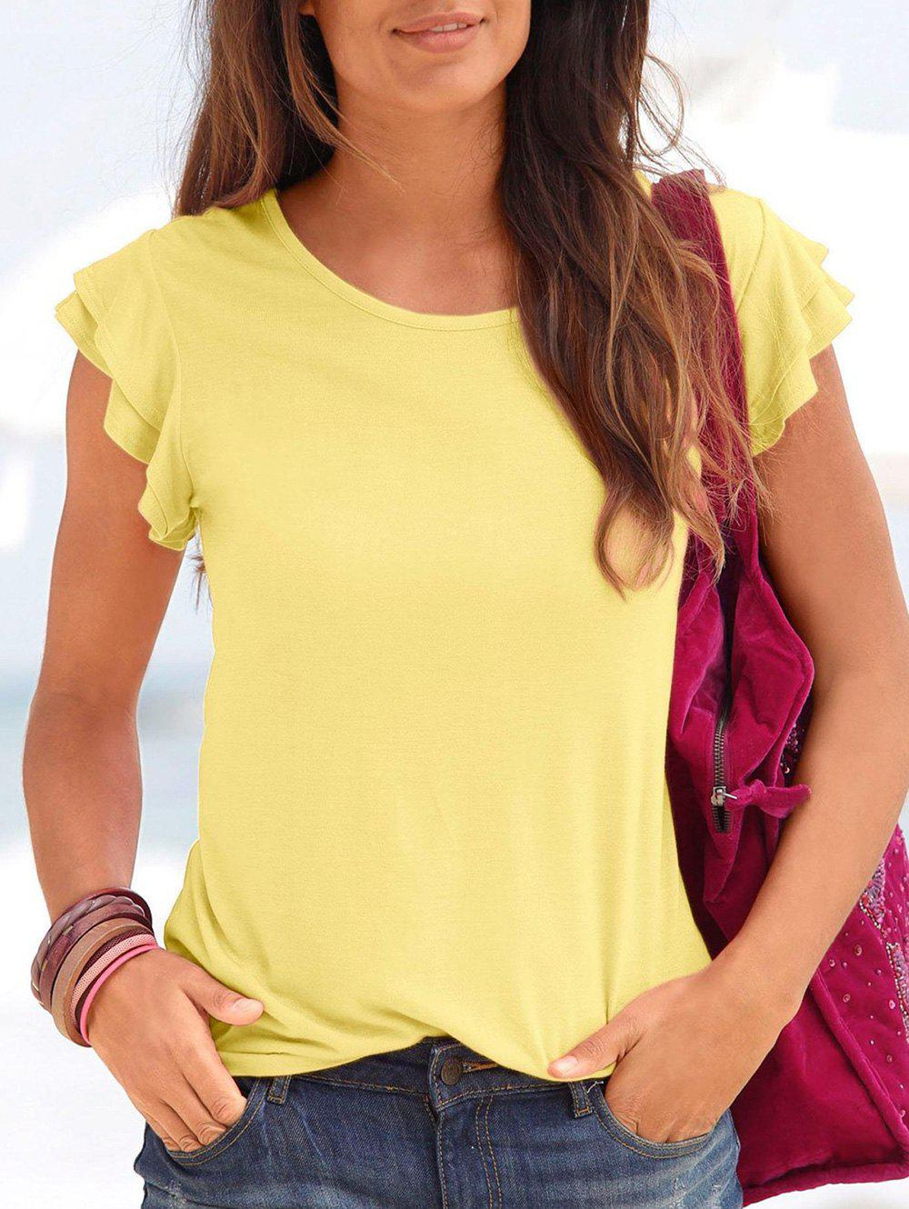 Latest Ruffle Armhole Round Neck Casual Tee