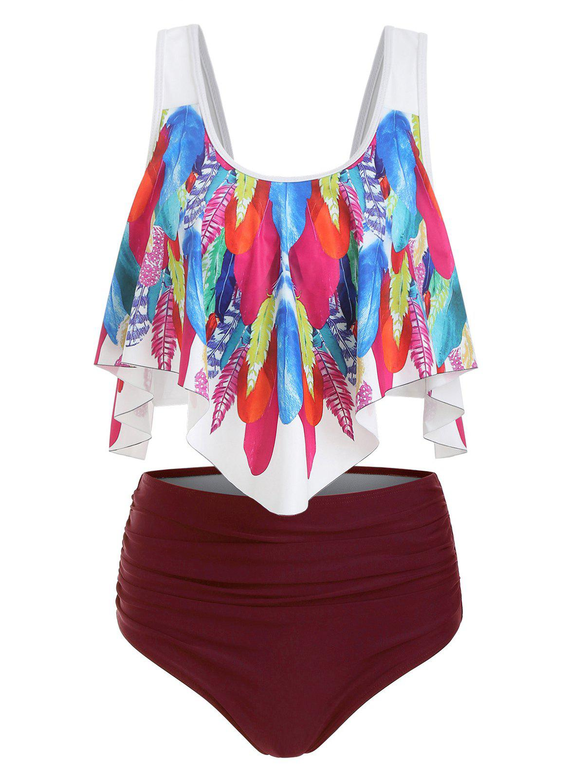 Chic Feather Print Padded Overlay Tankini Swimsuit