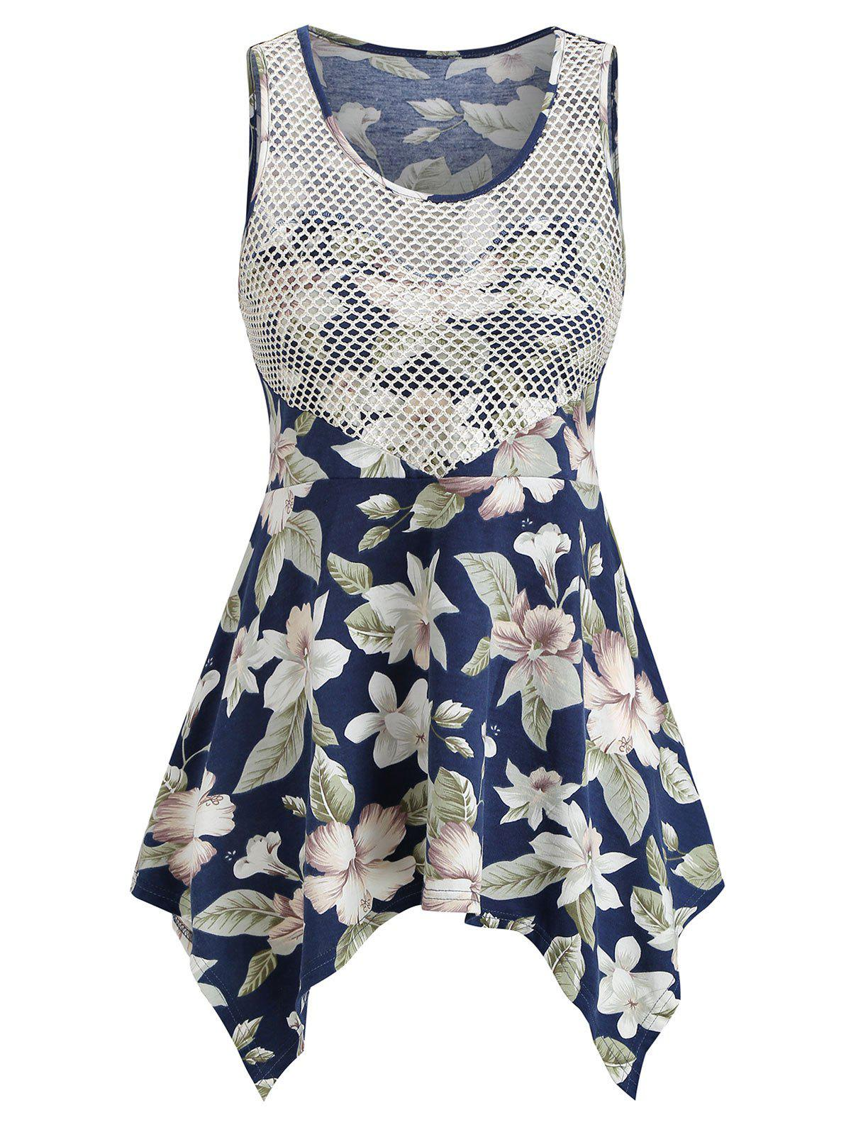 Sale Ditsy Print Asymmetrical Hollow Out Tank Top